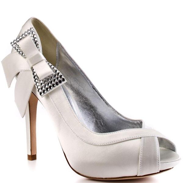 Branco Bowknot Sapato De Casamento De Strass Aberto Sandália Do Dedo Do Pé Para As Mulheres Strass Fino Sapatos De Salto Alto Sapatos De Grife Sapatos Mulheres 2015