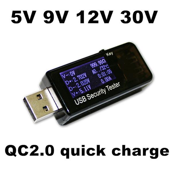 QC2.0 quick charge 5V 9V 12V 30V USB capacity detector voltmeter ammeter power tester meter current usb power bank