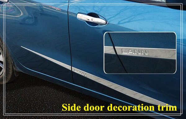 High quality stainless steel 4pcs side door decoration bight trim, door streamer,door scuff plate with logo for Nissan Lannia/bluebird 2016