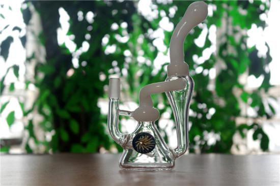 Glass Bongs Water Pipes Recycler Hand BlownDab Rigs Glass Fountain bongs Beaker base 3.5'' Height With 14mm Male From Hyman