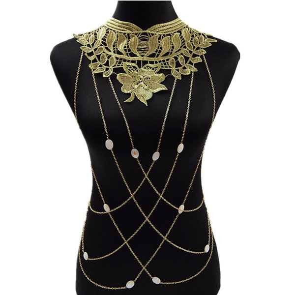 2016 New Gold Body Chain Women Big Lace Flower Necklaces& Pendants Body Chains Gothic Jewelry Maxi Colar For Women 82