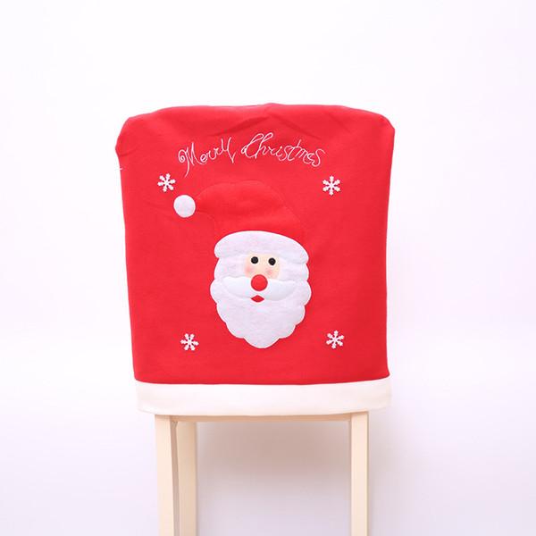 2 Teile / los 2017 Neujahr Weihnachtsschmuck Weihnachtsmann Hut Abendessen Tisch Stuhl Zurück Abdeckungen für Party Hauptdekorationen Handwerk Zimmer