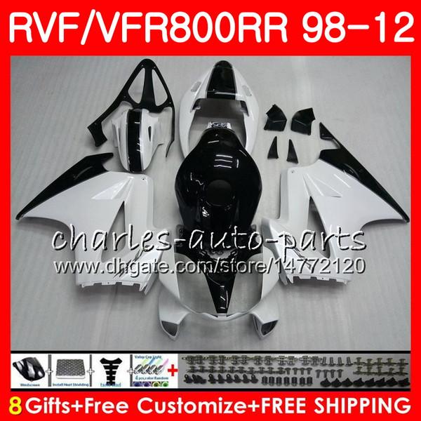 VFR800 Pour HONDA Interceptor blanc noir VFR800RR 98 05 06 07 08 09 10 11 90HM22 VFR 800 RR 1998 2005 2006 2007 2008 2009 2010 2011 Carénage