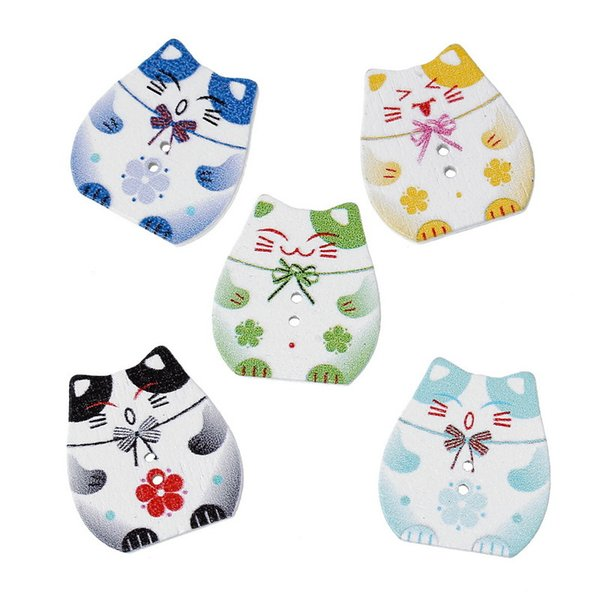 Wholesale Acces Hot Sale Buttons Baby Clothes 25X23mm 100pcs DIY Buttons Sewing Wooden Buttons Animals Wood Button