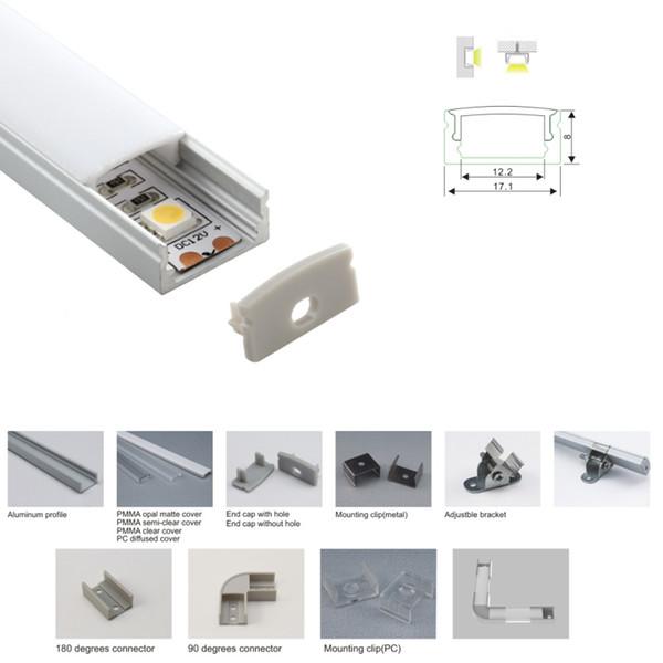 50 X 2M set / lotto Profilo in alluminio a forma di U per profilo a led piatto quadrato in alluminio profilo alloggiamento per lampada da incasso a parete