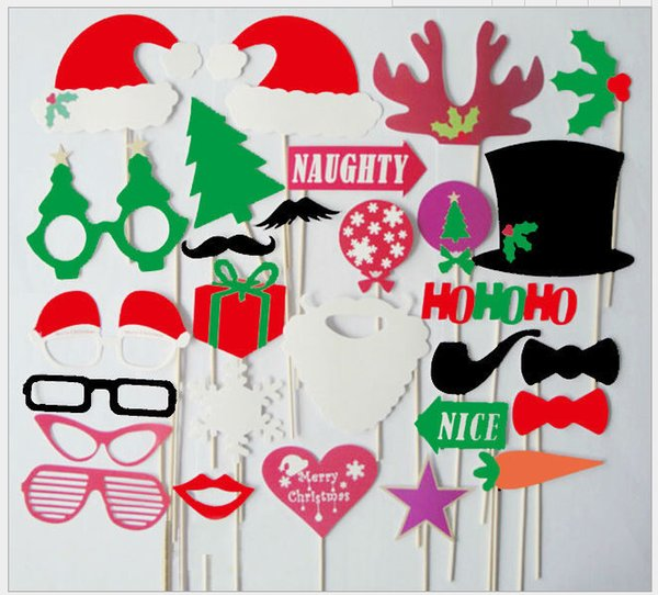 Christmas photo booth props kit set of 25pcs paper props on wood stick for taking funny photos in birthday party wedding Christmas party