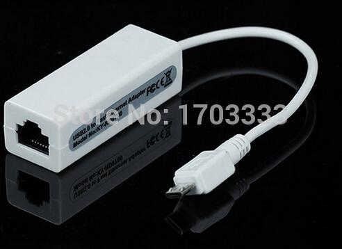 Envío gratis 100 unids / lote Micro puerto USB a Fast Ethernet Adaptador de red 10 / 100Mbps LAN transcever