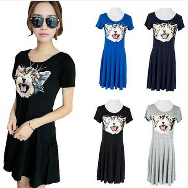 New Hot Good Selling Ladies Women Summer Casual Cute Loose Cat Short-sleeved Modal Irregular Dress One Size 2327