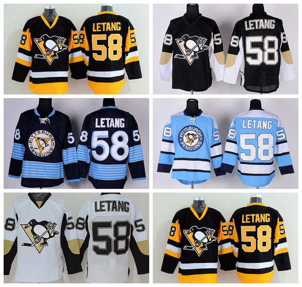 Wholesale 58 Kris Letang Jersey 2016 Pittsburgh Penguins Ice Hockey Jerseys Cheap Winter Classic Retro Black White Blue Yellow