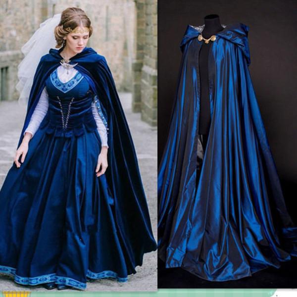 best selling Wholesale Blue Cheap Christmas Hooded Cloak Bridal Cloaks Capes 2017-2018 Winter Halloween Long Jacket Wedding Bridesmaid Wraps