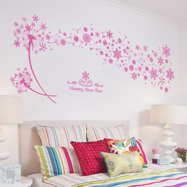 Acquista Pink Snowflakes Dandelion Wall Stickers Soggiorno Camera Da Letto  Stickers Murali PVC Rimovibile Wall Art Murale Poster Wallpaper Decor ...