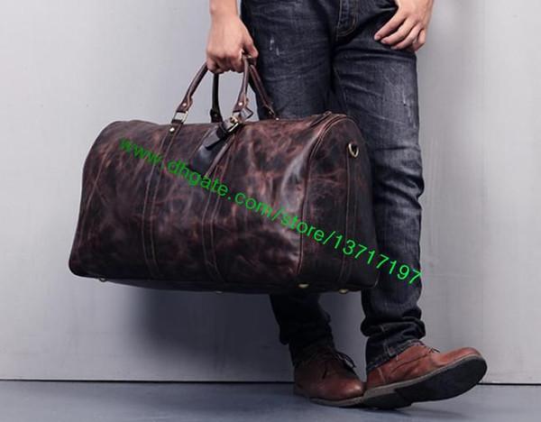 Top Grade Brown Toile Coated Real Leather Sac De Voyage Fashion Designer Duffle Bag M41428 M41426 M41424 M41422 Garder Tous Les 4 Tailles Différentes