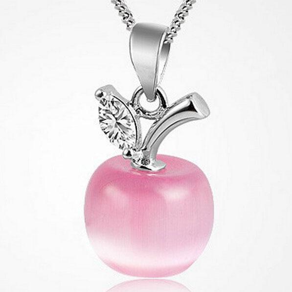 Charm Small Apple Opal Pendant Austrian crystal 925 sterling silver Necklace Pendants Women Fine Jewelry Accessories Small Apple Opal Penda