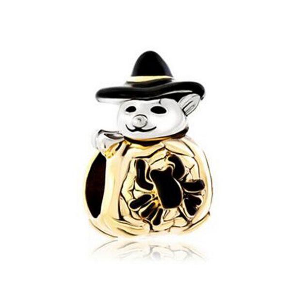 Halloween Gold Cute Spider Pumpkin Snowman With Classic Black Gentleman Hat bead European Fits Pandora Charm Bracelet