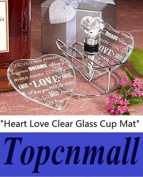 Wholesale Wedding Door Gifts Heart Love Clear Glass Cup Coaster Tablemat Cup Mat Casamento Kids Birthday party 200pcs(100sets)