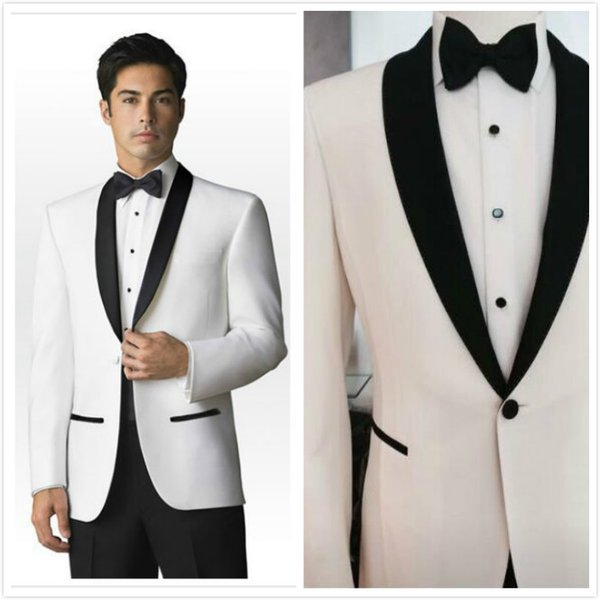 2016 Trends Black and White Shawl Lapel Groom suits/Wedding Suits For Men/Groom Tuxedos 3 Peices Suits(Jacket+Pants+tie)CM-83110