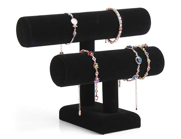 Removable Balck 2 Layer Velvet Jewelry Bracelet Necklace Watch Display Stand angle Watch Holder T-bar Multi-style Optional Free shipping