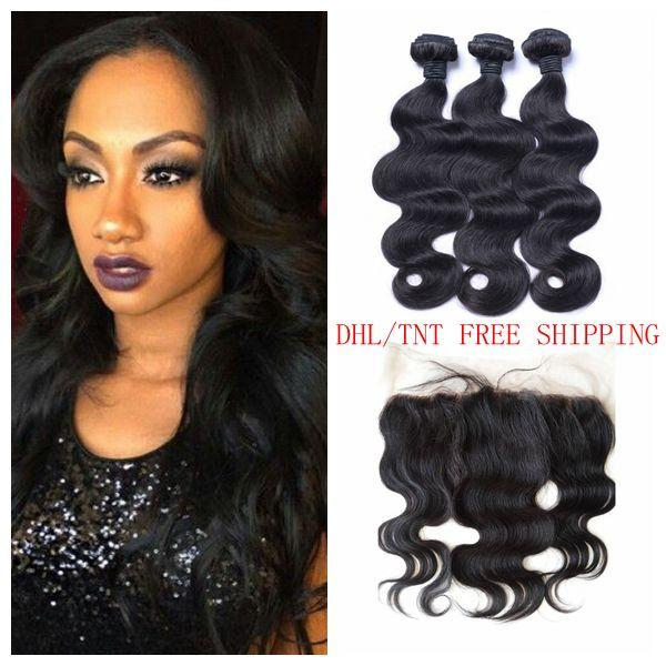13x4 Ear To Ear Lace Frontal Closure With Bundles 4pcs Lot Peruvian Body Wave Human Hair Full Frontal Closure With Baby Hair LaurieJ Hair