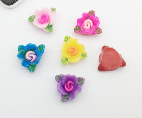 100pcs 18mm Resin Rose Flower wiht Leaf Bead Beads Button Flat back For Scrapbooking Craft DIY Hair Clip Accessories
