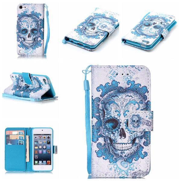 Schädel-Traumfänger-Wallet-Leder für Iphone 7 / Plus / 6 6S / SE 5 5S / Note 6 5 / für Fahrwerk K7, G Stylo 2 / Schreibkopf 2 LS775 Blumen-Schlag-Abdeckungs-Beutel + Bügel
