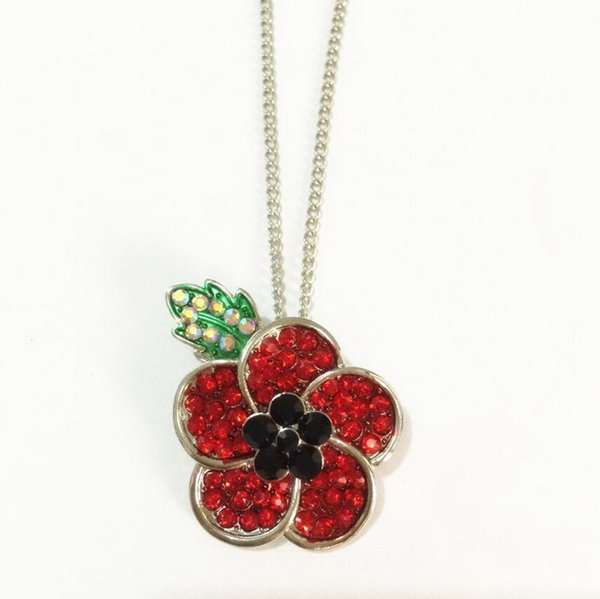 Red Crystal Poppy Pendant Necklace Flower Royal British Legion Remembrance Day Gift Necklace DHL free shipping