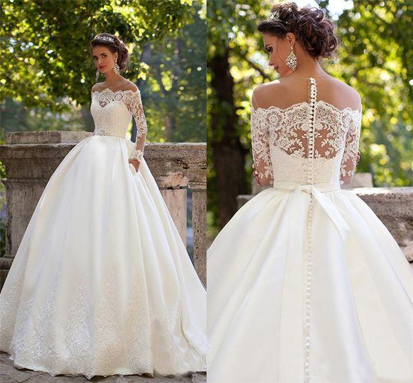 best selling Sheer Off Shoulder Neckline Appliques Ball Gowns Satin Country Bridal Gowns Vestidos De Noiva Milla Nova Long Sleeves Wedding Dresses