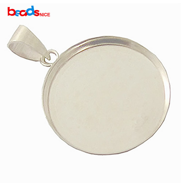 top popular Bezel Cup Tray with Bail Sterling Silver 925, 21.5mm, inside diameter:20mm, sold by PC, ID 27612 2019