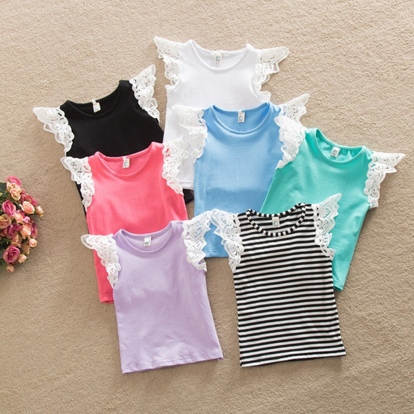 top popular Baby girls Cotton T-shirt lace puff Sleeves Summer top vest Singlet Fashion Hollow Shoulder strap vest Sleeveless Melee 2021