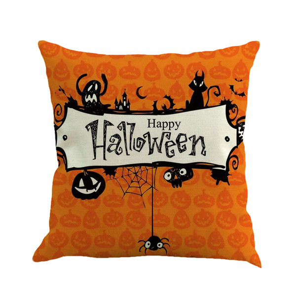 100pcs Happy Halloween pumpkin Linen Cushion Cover Home Office Sofa Square Pillow Case Decorative Cushion Covers without Pillow core 45*45cm