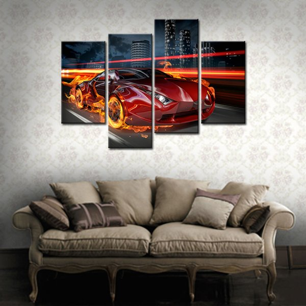4 Pieces Fire Red Car Running Arcoss the City Building Cartoon of Paintings Prints on Canvas For Home Decor with Wooden Framed