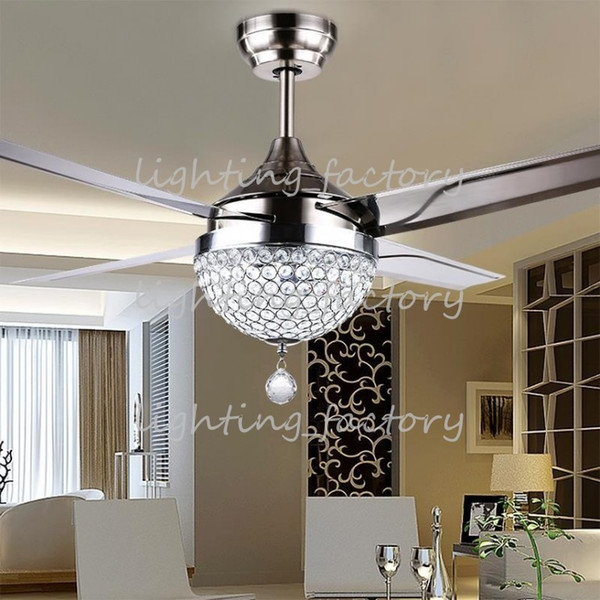 top popular Wholesale-Crystal lamp shade and 18W changeable light color ceiling fan light with remote control and stainless steel blade, Free Shipping 2021
