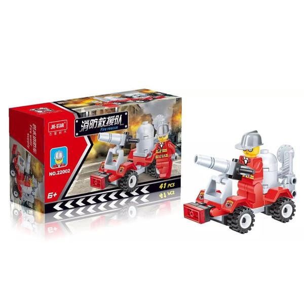 Free DHL 41PCS/SET City Fire Rescue Vehicle Car Model Building Blocks Set Children Educational Puzzle Toys Kids Gifts