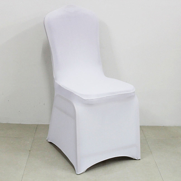 Free Shipping Cheapest Wholesale 100pcs Universal White Spandex Stretchable Wedding Lycra Banquet Chair Cover For Hotel Party Decoration