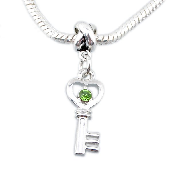 New Fashion key pendants Love heart Lock Key European Beads Charm Hot Jewelry For Pandora Bracelets Snake Chain