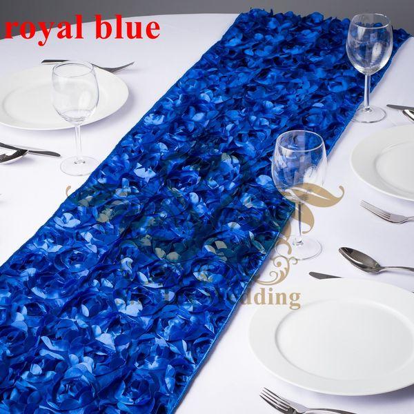 Satin Rosette Table Runner For Wedding Decoration - Royal Blue Color