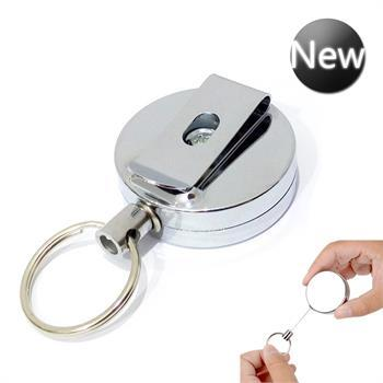 Retractable Stainless Silver Keyring Pull Ring Key Chain Recoil Heavy Duty Steel