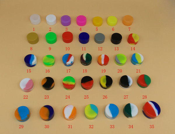 35 Farben 3mL 5mL 7mL Lebensmittelqualität Antihaft-Dabber Silikonöl-Behälterglas Tupfenwachs-Ölbehälter Silikongläser für Abstriche FDALFGB