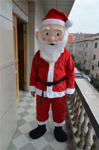 New Christmas Santa Claus Costumes Set 9pcs full body suit Mascot Costume with White Beard Christmas Costume Factory salecs