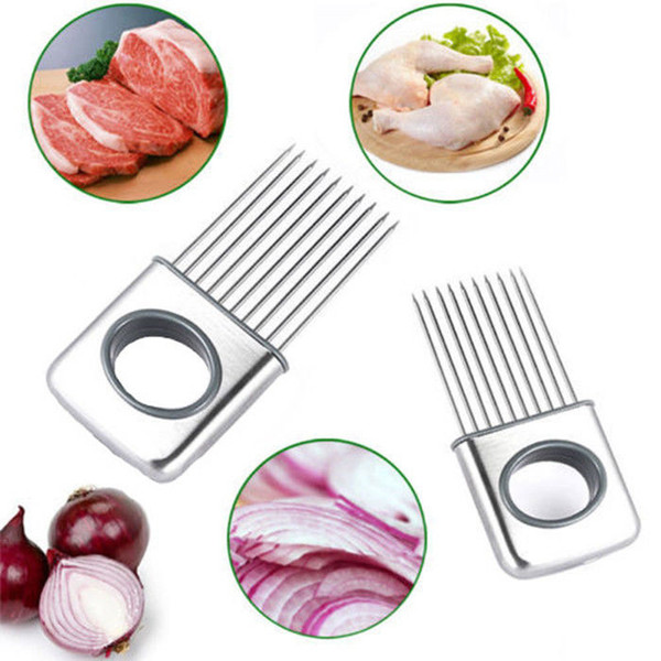 Onion Holder Slicer Vegetable Tomato Cutter Kitchen Tools Meat Tenderizer Needle #R571