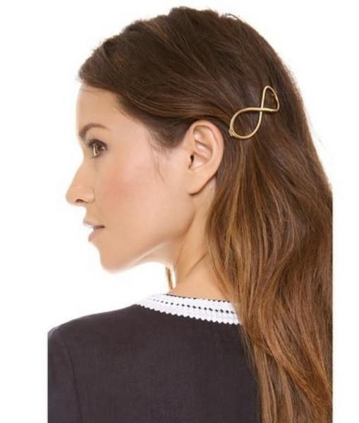 Заколки для волос Мода Женщины Краткое Позолоченные Геометрические Бесконечность Сплав Заколки Для Волос Ювелирные Изделия Оптом Бесплатная Доставка SHR340