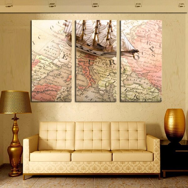 Modern Art map and ship three panels pictures for home decoration HD canvas painting no frame free shipping