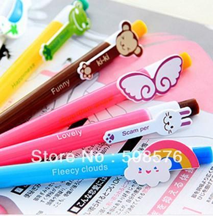 24pcs/lot 6 designs Cute Cartoon Kawaii Novelty Ballpoint Pens Lovely Cat Bird Ball Pen Korean Stationery Free shipping