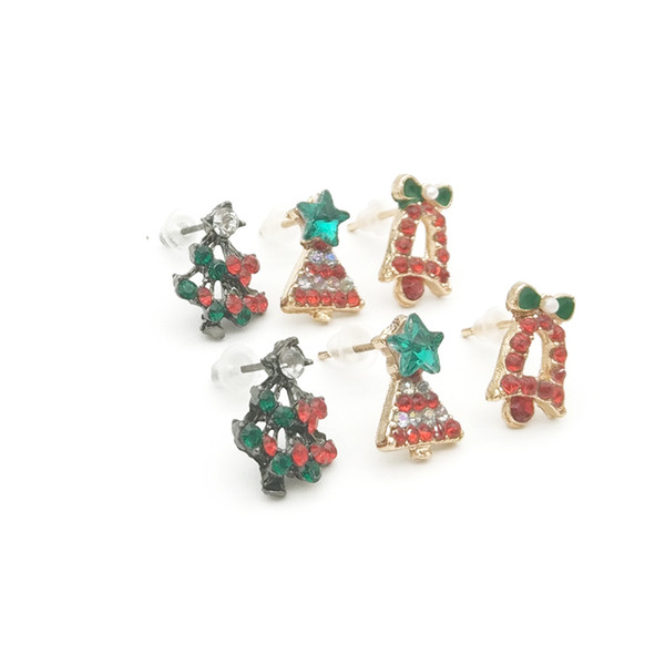 Fashion Christmas Small Cute Bow Bell Star Tree Ear Stud Earring Gift Jewelry Accessory Xmas Earrings Wholesale 12 Pairs