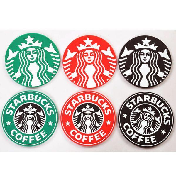 Free DHL 500pcs/lot Table decoration Starbucks logo Mermaid silicone coaster round platemat mugs coffee cup mat pad black red green