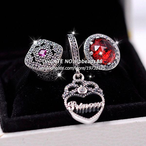 3pcs S925 Sterling Silver Red cat's eye crown pendant Jewelry Set Fit European Charm Bracelet Beads & Jewelry Making