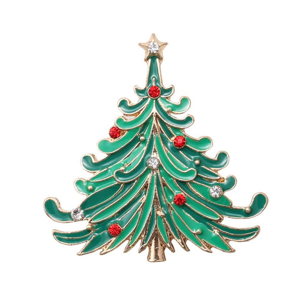 Christmas Star Tree Gold Brooch Rhinestone Brooches For Female Pins Women Wedding Scarf Pin Xmas Gift Lots 10 Pcs