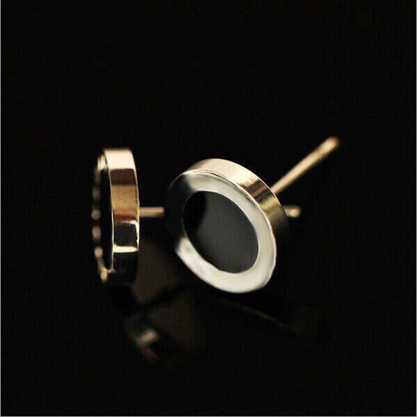 Fashion Black/ White Shell Small Titanium Stainless Steel Stud Earrings,Yellow Gold/Rose gold/Silver Metal Colors Women/Men Jewelry