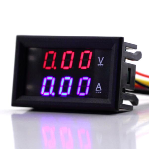 All'ingrosso-1pc di alta qualità DC 100V 10A Voltmetro amperometro blu + rosso LED Amp Dual Digital Volt Meter Gauge