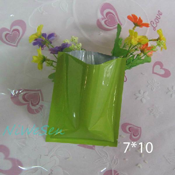 7x10cm, 200pcs/pack green metallic aluminum plating plain pocket-top open heat sealable aluminum foil flat bag, snack bags