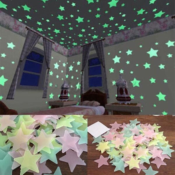 100 adet Duvar Çıkartmaları Glow Karanlık Kreş Odası Renk Yıldız Işıltılı Floresan Duvar Çıkartmaları Bebek Çocuk Odası Ev Dekor